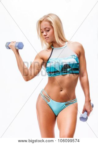 fitness woman doing exercises with dumbbel lon white background