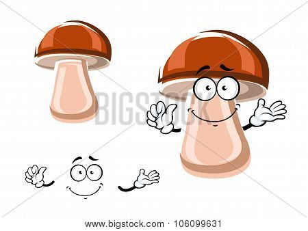 Cartoon fresh brown mushroom character