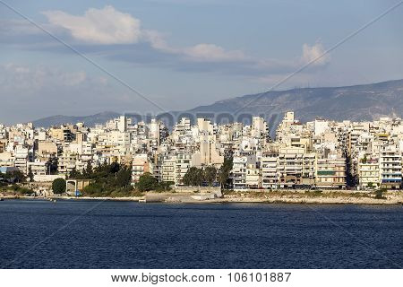 View Of The City Piraeus From The Harbor In Piraeus, Greece.