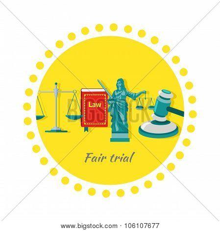 Fair Trial Concept Icon Flat Design