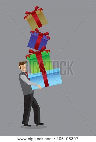Modern Man Carrying Stack Of Gift Box Vector Illustration