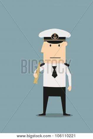 Sea captain in uniform with spyglass