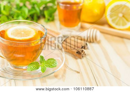 Tea With Mint Honey Cinnamon And Lemon On Wood Background,warm Toning, Selective Focus