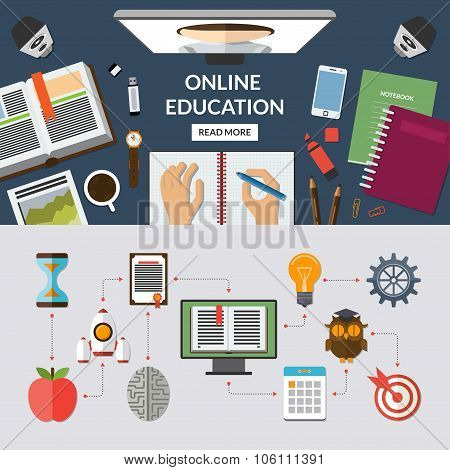 Online education flat concept background banner