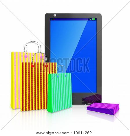 Touch Screen Smart Phone With Shopping Bags