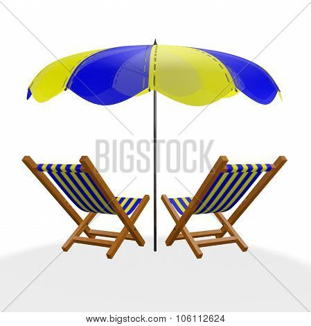 Two Blue Yellow Beach Loungers Under Parasol