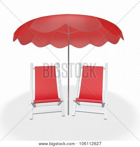 Two Red Beach Chairs Under Umbrella