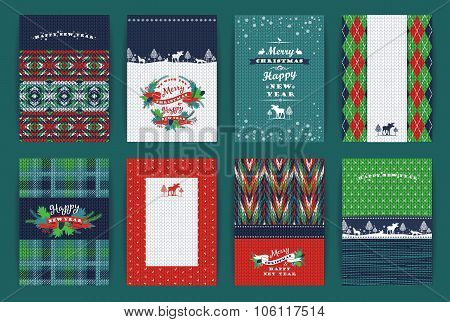 Christmas and New Year Set. Plaid and knitted backgrounds. Vector Design Templates Collection for Banners Flyers Placards Posters and other use. poster