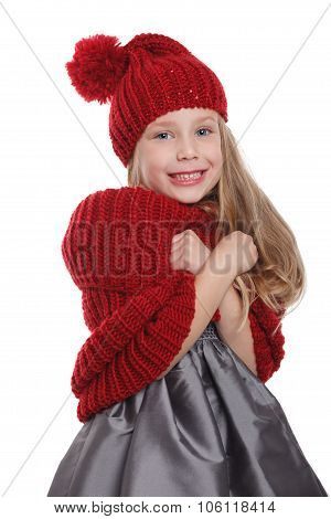 Cute Child Shivering In The Cold Isolated