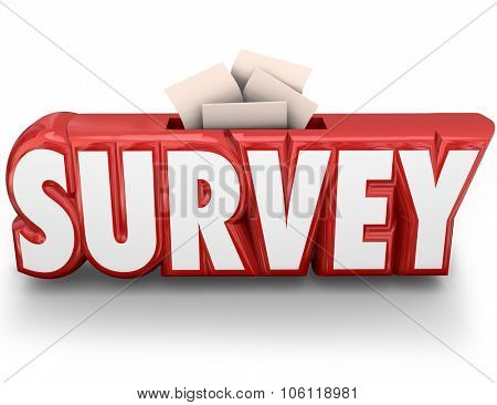 Survey word in red 3d letters and answers, responses or feedback submitted