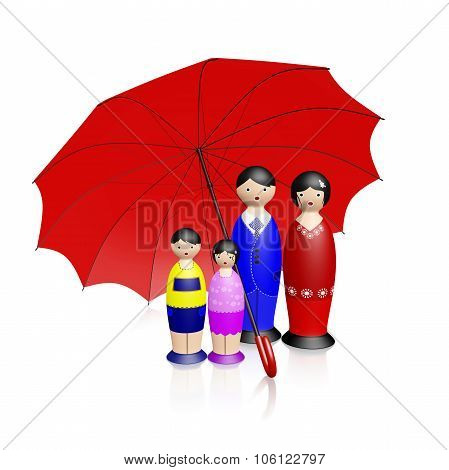 Wooden Doll Family Under Red Umbrella