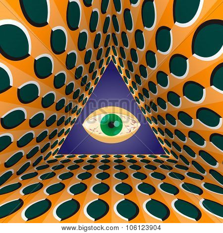 Abstract all-seeing eye in the end of tunnel