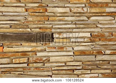 Modern Tiled Stonewall From Flagstone And Limestone Slabs, Background Texture