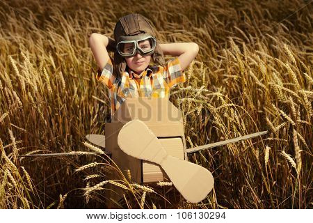 Brave dreamer boy playing with a cardboard airplane in the wheat field. Childhood. Fantasy, imagination.