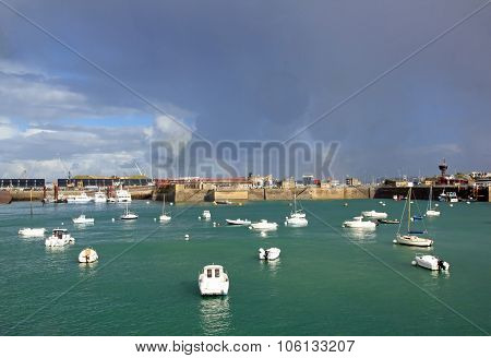 Saint Malo, boats and ferry terminal per day of heavy weather (Brittany France)