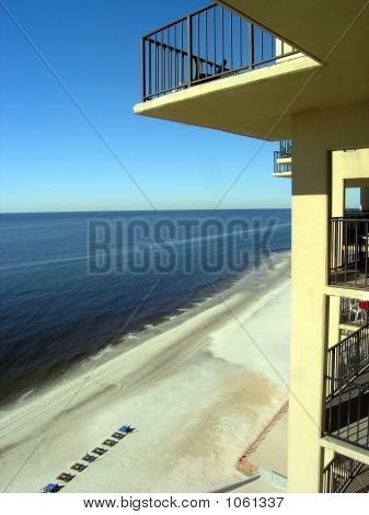 beach hotel balcony in gulf shores alabama poster
