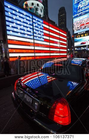 NEW YORK CITY - JULY 10: Lincoln on Times Square an iconic street of New York City and America July 10 2015 in Manhattan New York City.