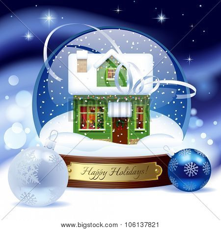 Snow globe with green wooden christmas house with decorations against a blue snow storm background. Christmas and New Year greeting card. Vector illustration