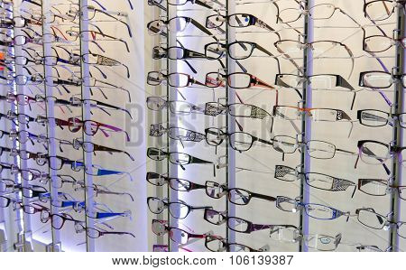 Coquitlam, BC, Canada - October 15, 2015 : Close up display eye glasses inside Coquitlma shopping mall