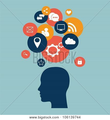 Social media icons with human head