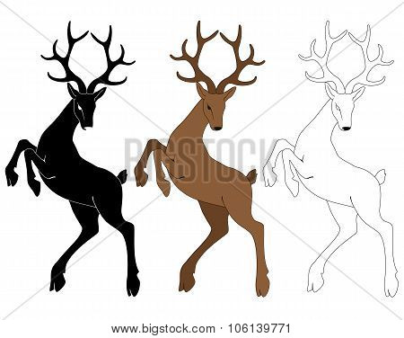 Vector illustration silhouette of a deer in the jump.
