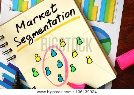 Notepad with market segmentation.