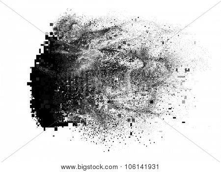 Glitch element looks like a paint splatter, but consists of pixels