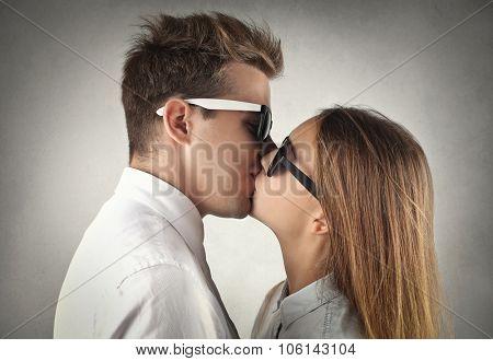 Couple tenderly kissing