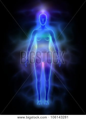 Human energy body (aura) with chakras - woman