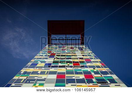DUSSELDORF, GERMANY - OCTOBER, 2015: Modern architecture in Dusseldorf harbor