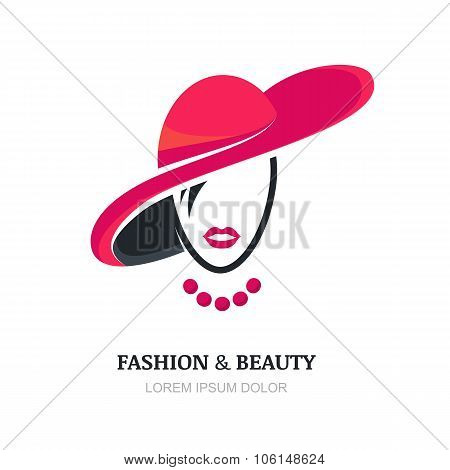 Young Woman With Pink Lips In Fashion Hat And Necklace.
