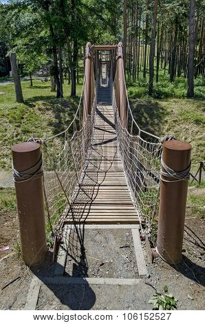 Rope bridge in Prevails Mali town attraction park