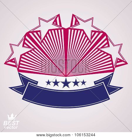 3D Classic Festive Symbol With Aristocratic Stars. Detailed Monarch Perspective Design Element, Deco