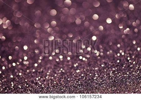 Violet Festive Christmas Abstract Bokeh Background, Shining Lights, Holiday Sparkling Atmosphere