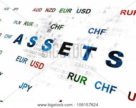 Banking concept: Pixelated blue text Assets on Digital wall background with Currency poster
