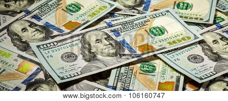Business finance concept background  letterbox panorama of hundred dollars bank notes bills of new 2013 year edition