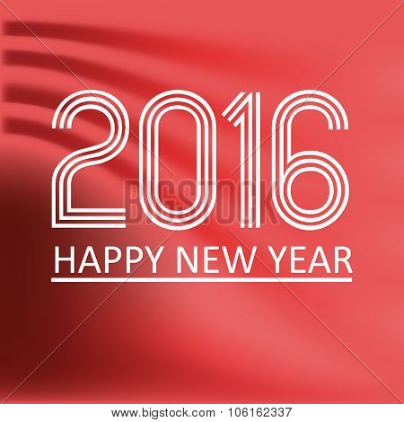 Happy New Year 2016 On Red Wave Color Background Eps10
