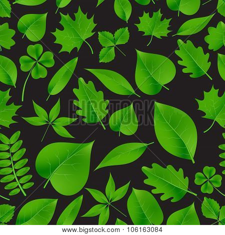 Natural Green Beautiful Leaves Icon Seamless Dark Fall Pattern Eps10