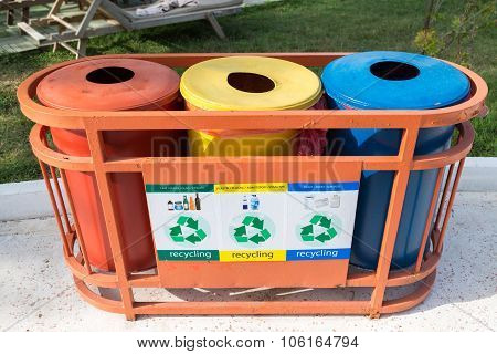 Garbage containers for a separate waste collection poster