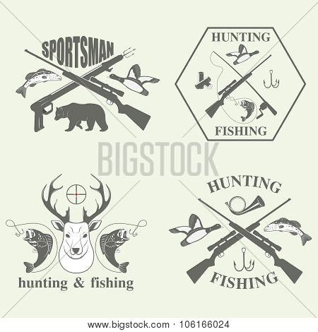 Set of vintage hunting and fishing