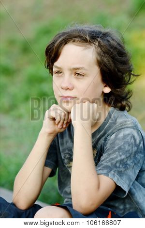 happy thoughtful preteen boy with long hair poster