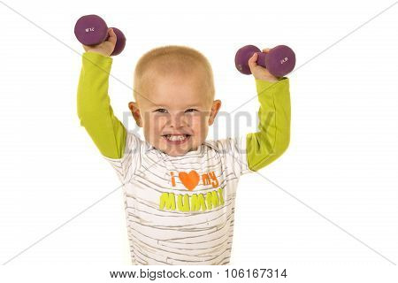 Young Boy Holding Purple Weights Up