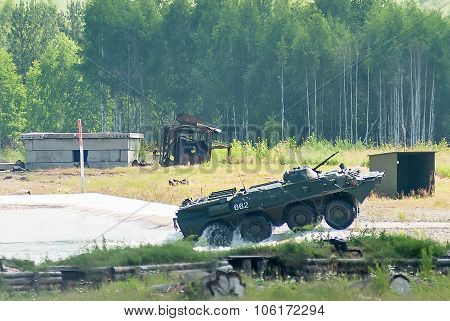 BTR-82A armoured personnel carrier goes from water