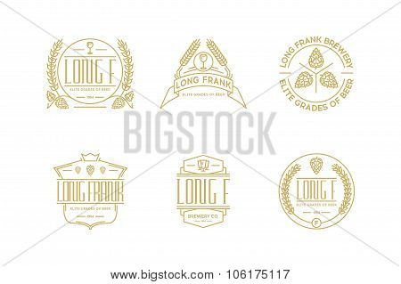 Retro Line Beer Labels. Stock Vector  Elements.