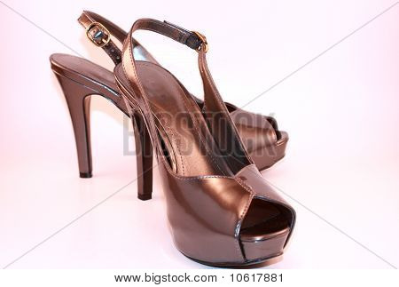 Womens Silver Metallic High Heeled Platform Shoes
