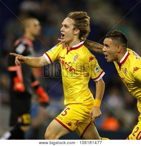 BARCELONA - OCT, 3: Alen Halilovic of Sporting Gijon celebrating goal during a Spanish League match against RCD Espanyol at the Power8 stadium on October 3 2015 in Barcelona Spain