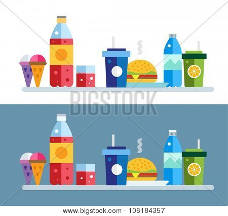 Fast food vector objects set. Fast food restaurant. Water bottle, juice box and coke bottle, eat, ice cream, hamburger, hot dog, lemonade. Food icons. Take out food. Isolated