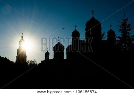 Silhouette of orthodox churches in the evening. Russia Diveevo poster
