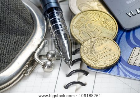 The Old Wallet, Pen, Diary, Credit Cards And Coins