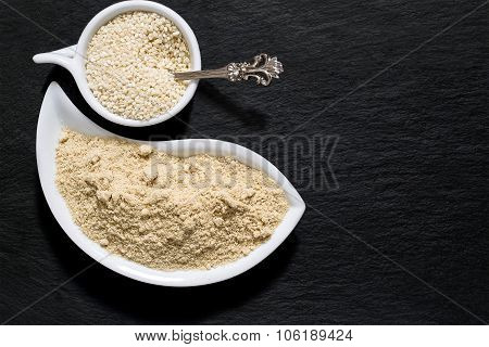 Sesame Seeds And Flour On The Surface Of The Shale